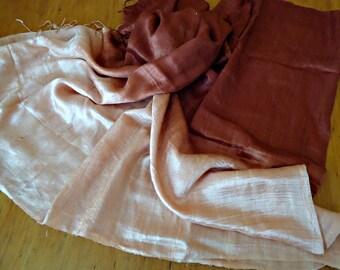 Vintage Scarf Shawl Silk Cream Brown   D21