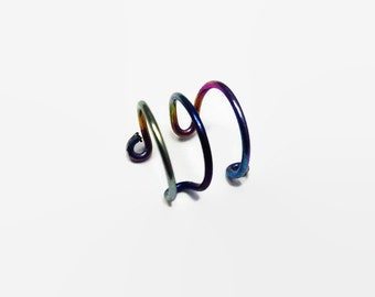 Triple Ear Cuff - Peacock Ear Cuff - Rainbow Ear Cuff - Triple Ear cuff - Boho Ear Cuff - Helix Ear Cuff - Triple Earcuff - Hippie Ear Cuff