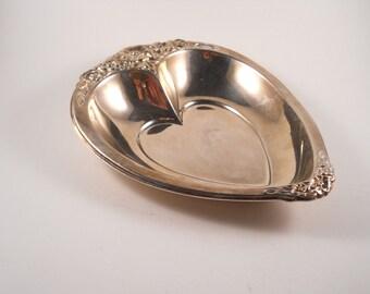 Laurel Mist Silver Plate Heart Candy Bonbon Dish
