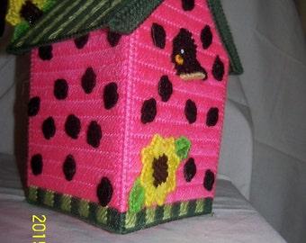 Plastic Canvas Watermelon  Birdhouse Tissue Box Covers