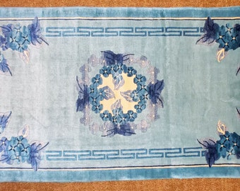 "Vintage, Hand Knotted, CHINESE SILK RUG,  2'0"" x 4'3"", Floral Medallion, Blue and White, Hand Sheared Sculpted Pile, Silky Sheen,"