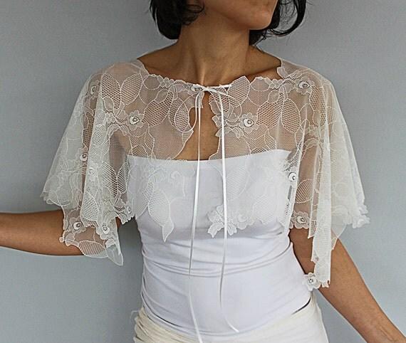 Sheer Lace Bridal Cape Cream Off White Tulle Bolero