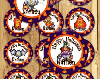 Halloween stickers Thank you tags Birthday stickers Trick or Treat Party favor tags Custom Gift tags Cupcake toppers Birthday tags PRECUT