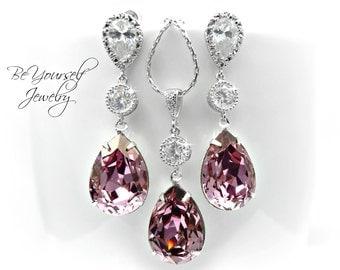 Mauve Bridal Earring Dusty Pink Teardrop Bride Necklace Swarovski Crystal Antique Pink Wedding Jewelry Pastel Purple Bridesmaid Gift Earring