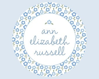 12 Personalized Stickers - Blue Floral