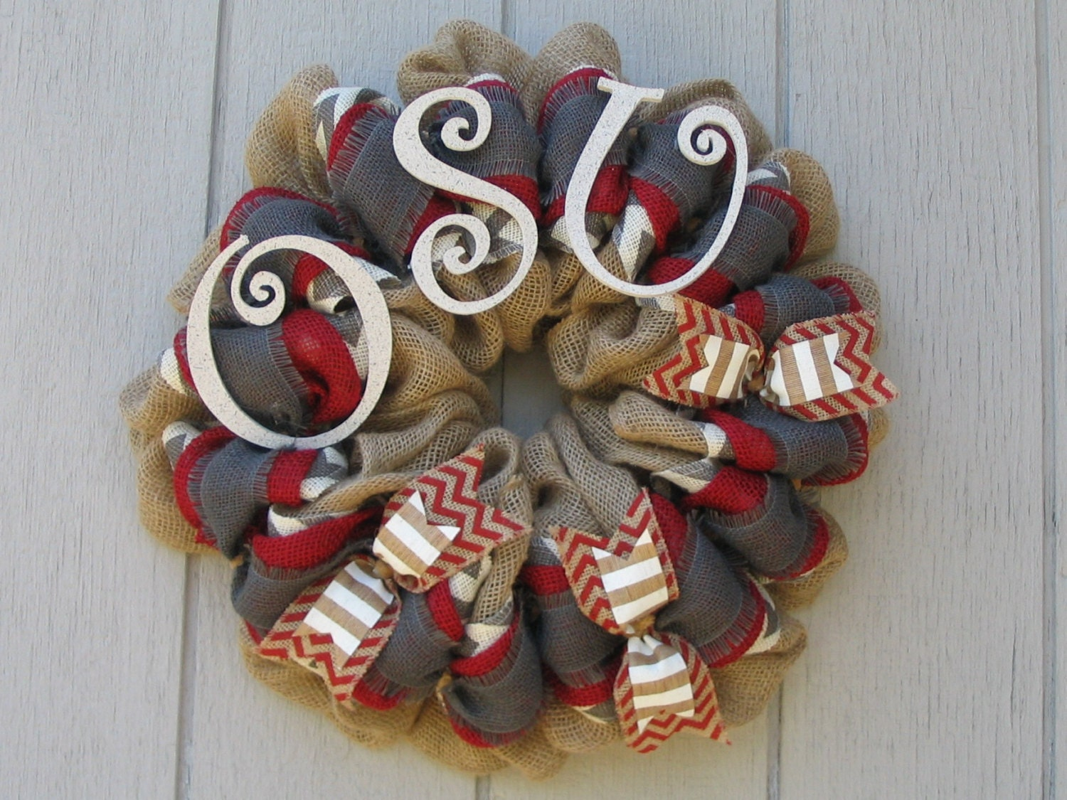 Ohio State University OSU Burlap wreath wall or door decor