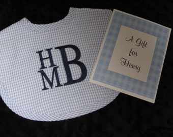 Personalized Gingham Seersucker Bib -  Personalized Baby Gift --  Monogrammed Bib - Choose Thread Color - Baby Shower Gift - Great for Twins