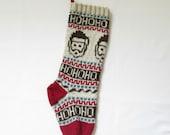 Knitted Santa Clause Christmas Stocking Holiday Xmas Christmas Stocking Fair Isle (Ready to Ship) LBrR