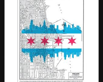 1944 Chicago Street Flag Map Vintage Print Poster Skyline Flag