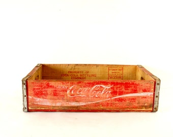 Vintage Coca-Cola Wooden Beverage Crate #7-72, Coke Crate in Red and White (c.1972) - Industrial Storage Box, Coca-Cola Collectible