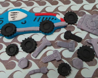 Race CAR - Edible Cake Decorating set-You can choose the colors to match your party -. All edible decorations for your cakes