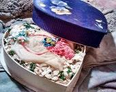 Antique Keepsake Valentine Heart Box & Veil Forget Me Nots Hand Painted white Purple Tulle Bridal Communion Confirmation