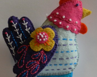 french hen felt ornament