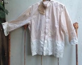 lunch in italy hand dyed peach tan vintage linen lace gypsy country boho shabby prairie fashion tunic shirt