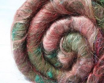 Batt Merino Tussah Silk Alpaca Silk Noil Mohair Locks Angelina 58g 2.03 oz OOAK Ready to Ship International -  Forest of Amalur