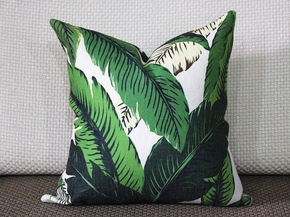 tropical dark green palm banana leaf pillow covers leaves. Black Bedroom Furniture Sets. Home Design Ideas