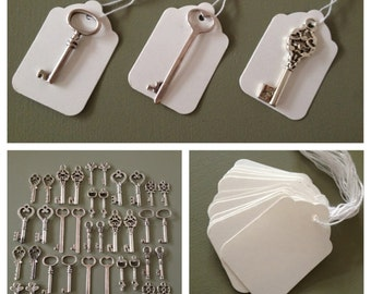 Keys to Happiness - 100 Antique Silver Skeleton Keys & 100 White Tags - Skeleton Keys For Weddings, Escort Card Vintage Keys Wedding Favors