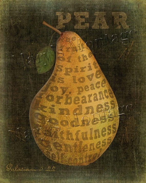 The Fruit Of The Spirit Pear Folk Art Printable Download