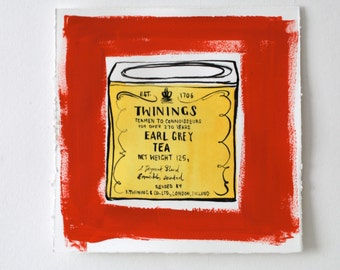 Kitchen Art, Vintage Tin Ink Drawing of Twinings Tea Tin in Red and Yellow