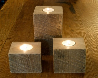 Reclaimed Antique Barn Wood Candle Holder Set