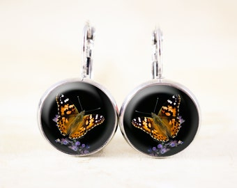 Painted Lady Butterfly Earrings - Nature Jewelry, Silver Butterfly Jewelry, Orange Butterfly Photo Jewelry, Nature Earrings, Garden Jewelry