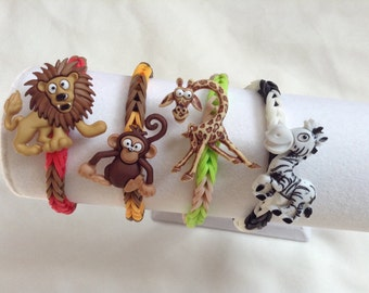 Birthday party favors loot bag party pack of 4 rubber band loom bracelets zoo theme