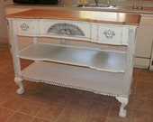 Reserved for Susan...Vintage White Buffet - Kitchen Island - Hallway Table - Painted Shabby Chic Furniture