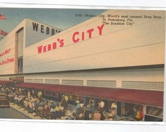 "Florida, Vintage Postcard, ""Webb's City World's Most Unusual Drug Store, St. Petersburg,""  1940s,    #665-2."