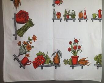 "1950's Cotton Tablecloth // Vegetables, Grapes, Flowers...52"" X 60"""