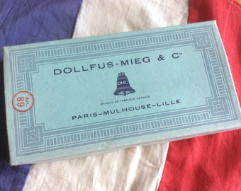 Vintage French Box of Dollfus-Mieg and Co of Embroidery Silks with 9 cobalt Blue Skeins/threads