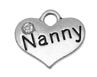 "20 bulk Silver Tone Rhinestone ""Nanny"" Heart Charm Pendants 16x14mm (5/8""x1/2"") chs2003"