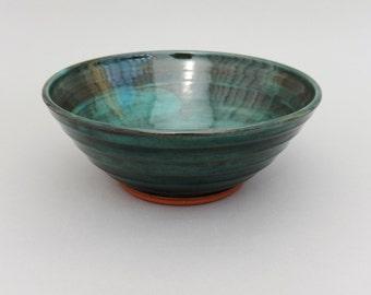 Green Pottery Bowl - Deep Green Glazed Earthenware