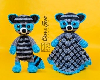 Combo Pack - Rascal the Raccoon Lovey and Amigurumi Set for 7.99 Dollars - PDF Crochet Pattern - Instant Download - Special Offer Pack