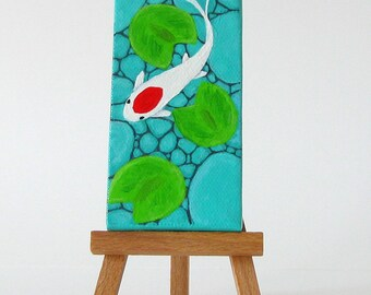 Koi Fish Pond // Original Painting on Canvas // Fish Art // Acrylic Painting on Canvas
