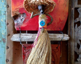 Vintage Jamaican Whisk Broom Doll Folk Art Doll