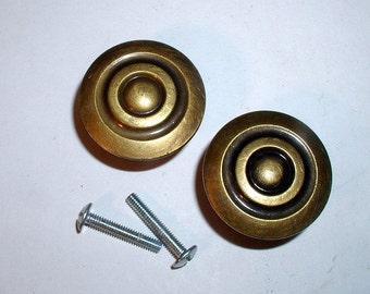 Pair of Vintage 1960's Retro Brass Drawer Pulls Incised Circular  Cabinet Knobs Signed & Numbered