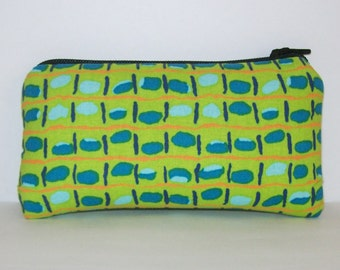 """Padded Pipe Pouch, Pipe Case, Pipe Bag, Glass Pipe Pouch, Funky Purse, Green Blue Bag, Stoner Gift, Padded Pouch, 420 Accessory - 5.5"""" SMALL"""
