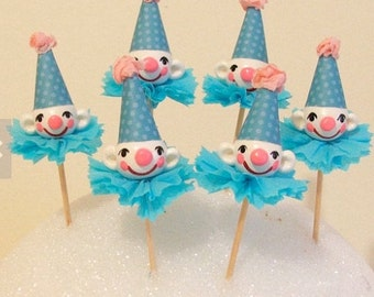 Circus Clowns in Blue Hats Cupcake Toppers/Picks