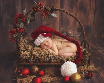 Newborn Santa Hat, Newborn Christmas Hat, Newborn Photo Prop, Burgundy Elf Hat, Crochet Infant Hat, Newborn Christmas Prop, Infant Santa Hat