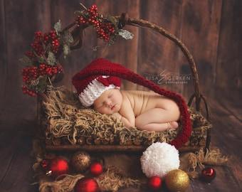 Newborn Santa Hat, Newborn Christmas Hat, Newborn Photo Prop, Burgundy Elf Hat, Crochet Infant Hat, Newborn Christmas Prop, Infant Santa Hat