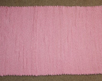 Handwoven Rag Rug - Cotton Candy Pink Chenille - Soft & Pretty - 48 inches....(#102)