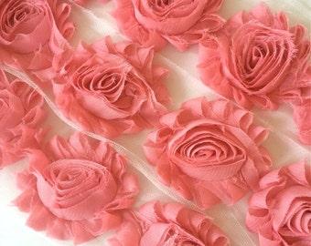 "Vintage Pink Shabby Rose Trim 2.5"" Shabby Flowers Shabby Chiffon Flowers - Solid Shabby Chic Trim Wholesale Rosette trim 6cm 1 yard #408B"