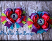 Monogram hair bow , Pigtail Hair Bows, sold individually or as a set of 2, Cute Pigtail Bows