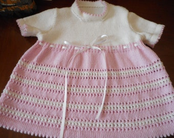 Hand Made Toddlers Dress - Pink and White Merino 4ply with Short Sleeves  Size 20 ins - Age 1 Year plus    Made in Scotland