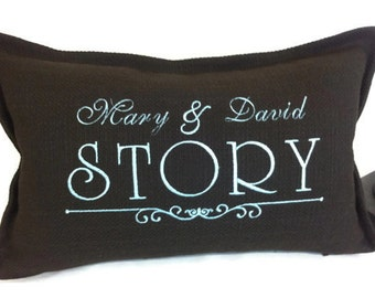 Dark Chocolate Pillow His and Her Name - Last Name with bottom frame -  Embroidered Pillow Cover - Wedding Gift