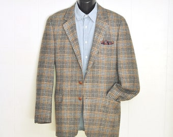 1980's Mens Tweed Blazer 40 X Long Blue & Brown Plaid Herringbone Wool Mens Medium Womens Large Vintage Menswear Tall Man