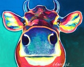 Cow, Farm Animal, DawgArt, Cow Art, Art Prints, Pet portrait, pet portrait artist, pet portrait painting, Colorful, Farm Art, Cow Painting