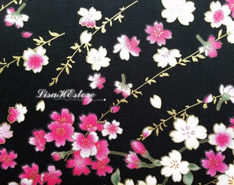 SALE - Japanese cherry blossoms, black, gold metallic, 1/2 yard, pure cotton fabric