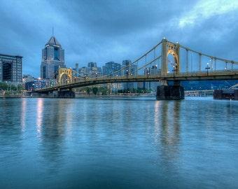 Roberto Clemente Bridge, Pittsburgh, Landscape Photograph, Reflection, Morning, Allegheny River, Pennsylvania, Blue, Wall Art, Three Rivers