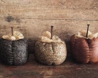 Primitive Pumpkin Bowl Fillers Cream Orange Black Fabric Fall Harvest Decor